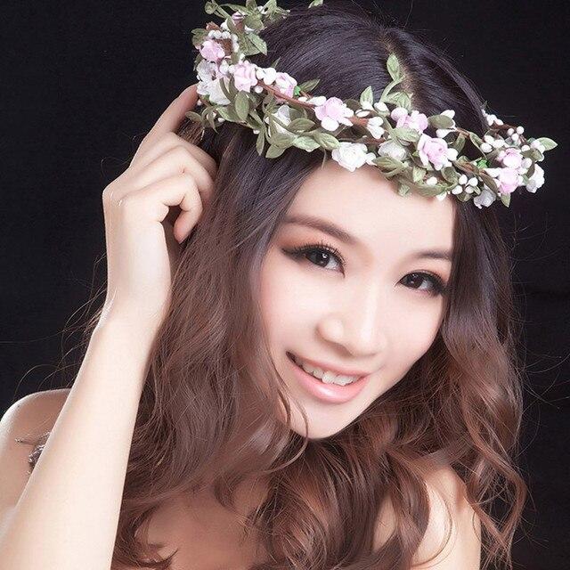 1PC Hot Sale New Fashion Women Lady Bohemian Style Wreath Flower Crown Wedding  Garland Forehead Hair 1b6cb60df377