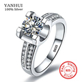 YANHUI Luxury 100% Original Solid 925 Silver Rings Set 1.5 Carat SONA CZ Cubic Zirconia Engagement Wedding Rings For Women ZR004