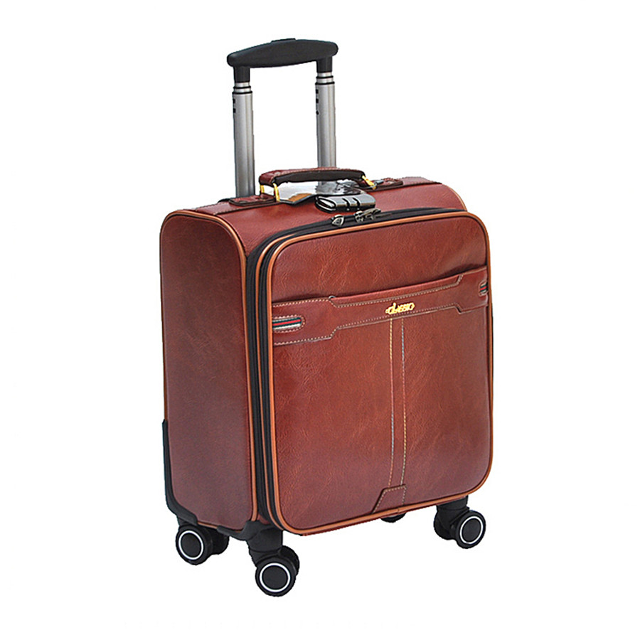Universal wheels trolley luggage 16 suitcase travel bag male Women luggage,high quality pu leather black/red trolley luggage