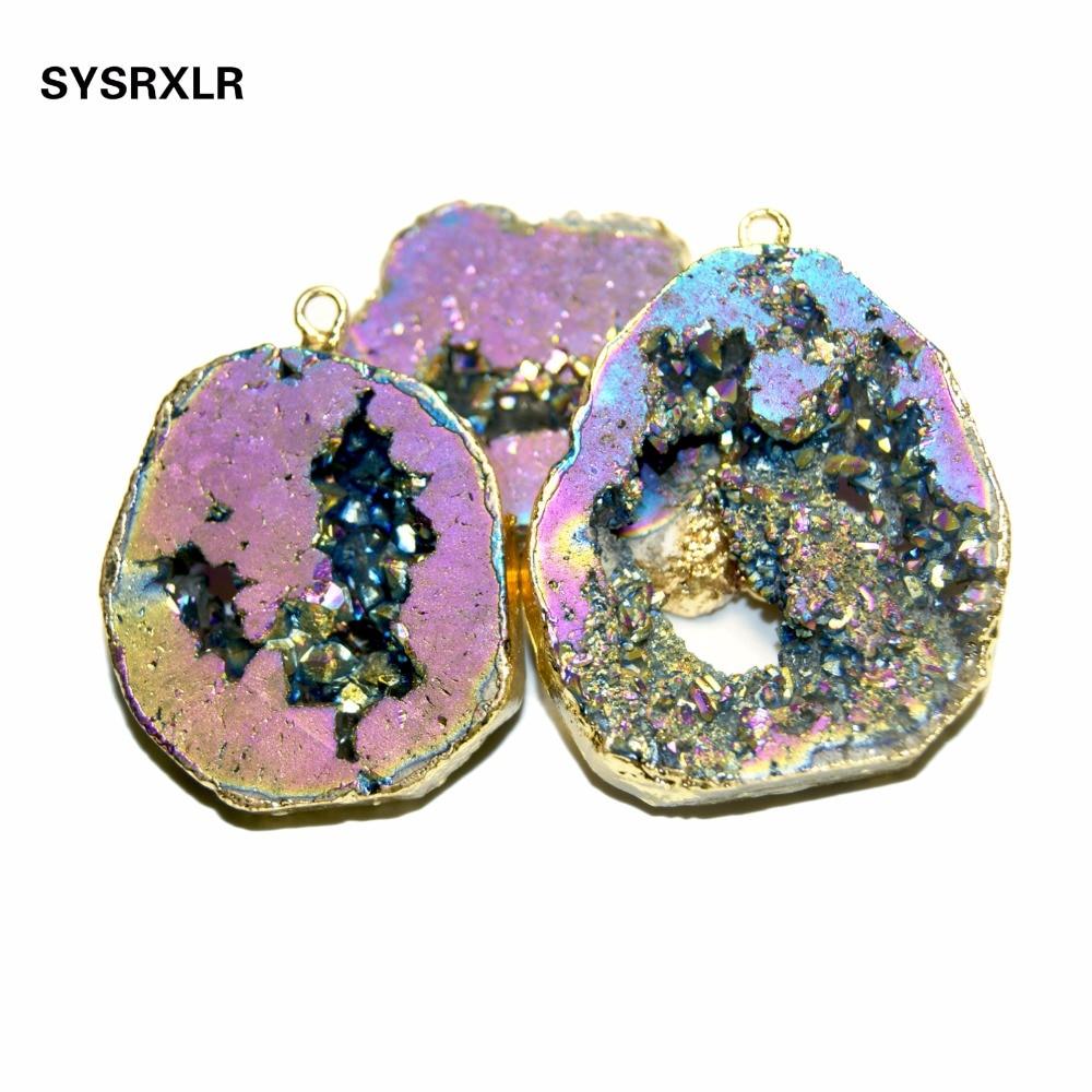 Venta al por mayor Natural único encanto Crystal Druse chapado en oro irregular Geode piedra colgante de las mujeres DIY collares para la fabricación de joyas