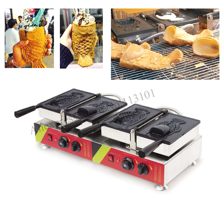 Commercial Taiyaki <font><b>Ice</b></font> Cream Cone Machine Double Heads Korean Style Fish Icecream Cone Waffle <font><b>Maker</b></font>