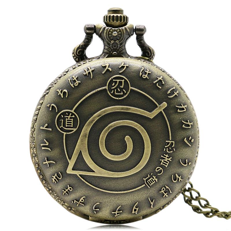 Vintage Weapon Konoha Ninja Village Full Hunter Anime Cartoon Naruto Quartz Necklace Round Pocket Watch Kakashi Itachi Cosplay