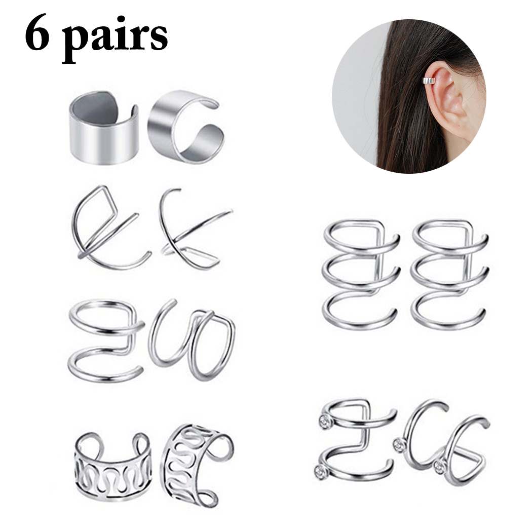 2019 New 6 Pairs Fashion Punk Rock Ear Clip Cuff Wrap Earrings No piercing-Clip On Cartilage Wrap Earring Dropshipping