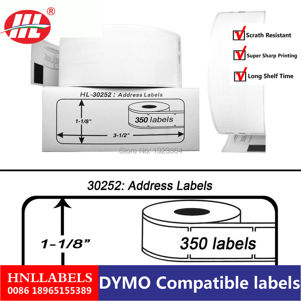 6X Rolls Dymo 30252 Dymo Compatible 1-1/8 X 3-1/2 Address Labels