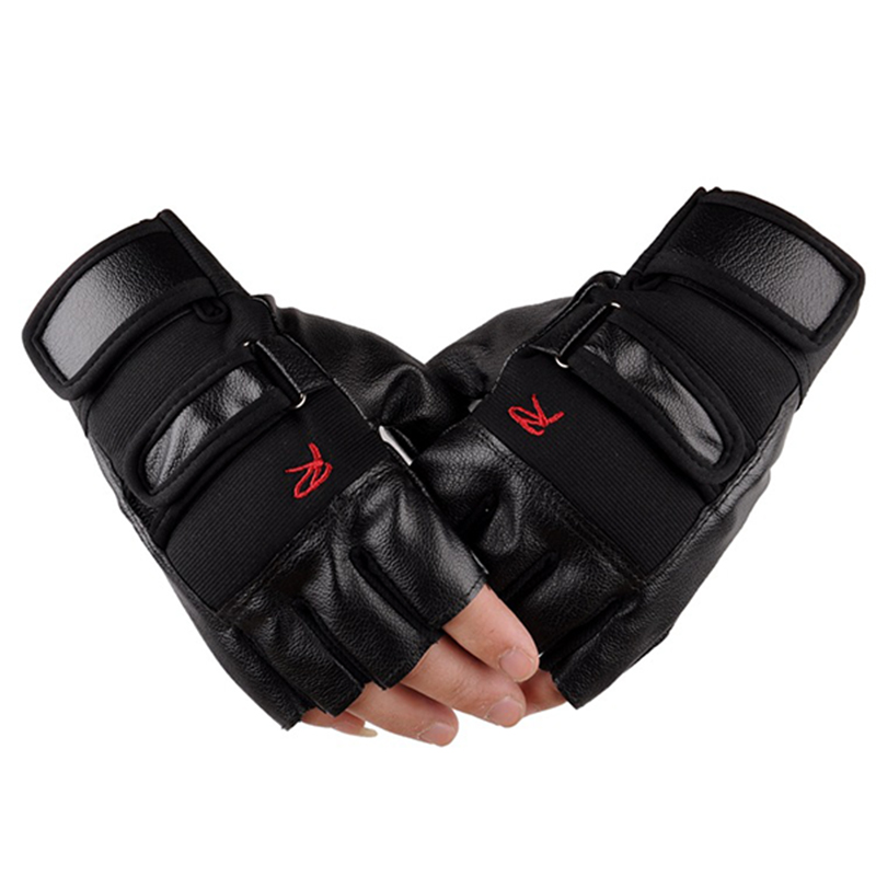 Luxury Men Tactical Gloves Unisex PU Leather Half Finger Sports Motocycle Gloves Mens Military Fingerless Glove Mittens