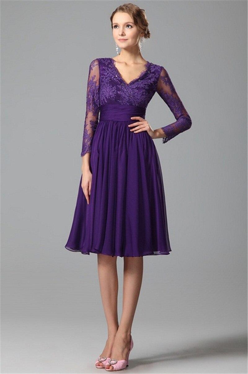 Long Sleeves Purple Bridesmaids Dresses 2015 A Line V Neck Vintage ...