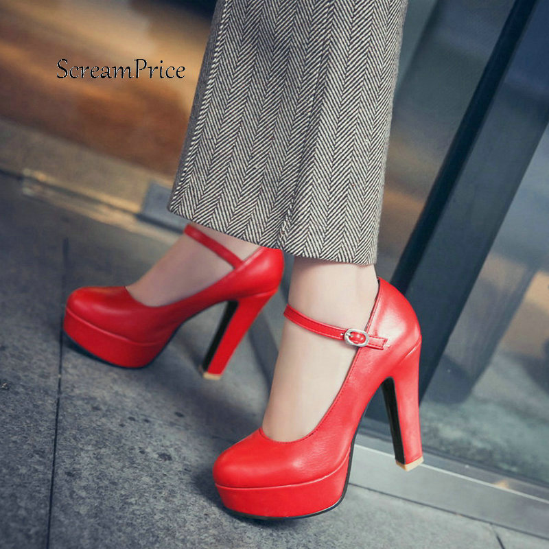 Women Platform Thick High Heel With Buckle Strap Pumps Fashion Round Toe Dress High Heel Shoes Black Red White aluminum wall mounted square antique brass bath towel rack active bathroom towel holder double towel shelf bathroom accessories