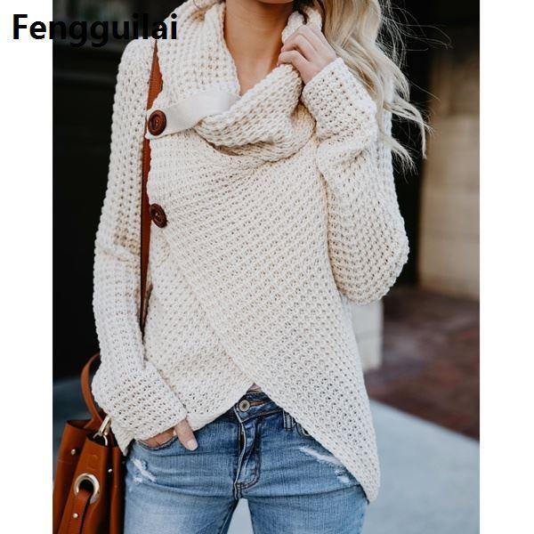 aae577915eff Winter Women Knit Sweater Buttons Loose Cardigan Coat Warm High ...