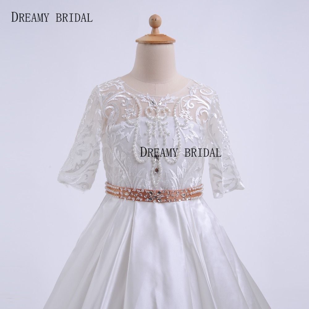 b5f99b8ea1f Dreamy Bridal Vintage Lace Flower Girl Dresses With Pearls Sash ...