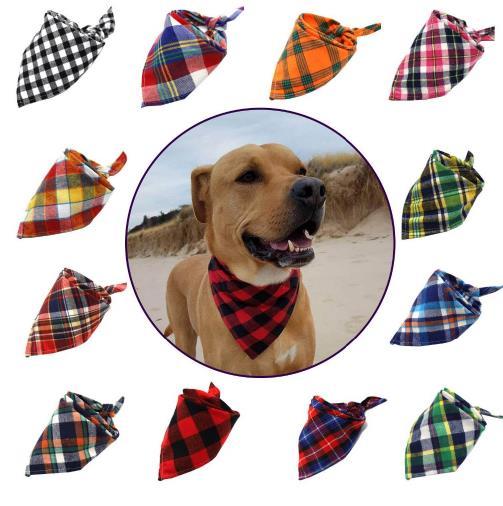 100PC Lot Plaid Dog Bandanas Cotton Pet Dog Bibs Scarves For Large Dogs Bowties Collar Pet