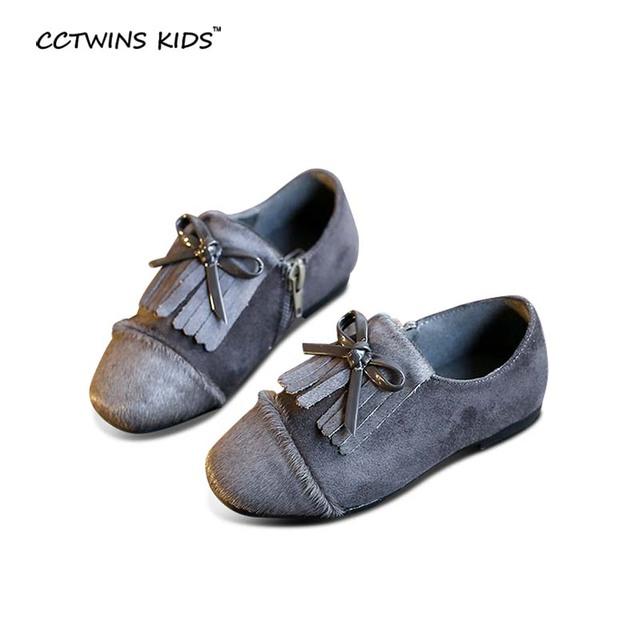 CCTWINS CRIANÇAS crianças primavera outono moda cinza pu sapato de couro para marca menina arco criança borla falts sapato preto