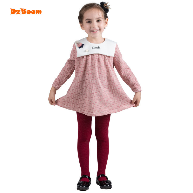 DzBoom 2017 New Autumn Winter Girls Dress Children Warm Knit Princess Cotton Pink O Neck Baby Kids Dresses For Girl vestidos autumn winter baby hats new fashion children warm ball hat double color boys and girls cotton caps beanies baby knitted hat