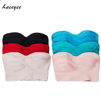 Laceyce 2017 Strapless Knitted Tights Bandage Crop Top Sexy Women S White New Fashion Black Red
