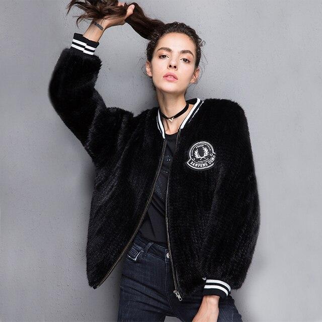 2017 New 100% Real Mink Knitted fur Short Jacket, Natural Mink Fur Coat BE-1708 Free shipping 2