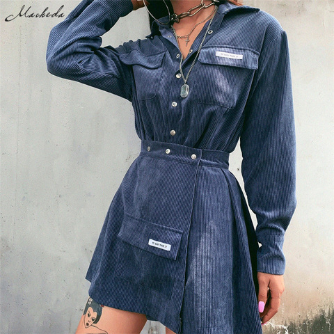 Macheda Autumn Women Turn-down Collar Shirt And Skirts 2 Pieces Sets Lady Casual Streetwear Mini Skirts Wild Slim Tops 2019 New Pakistan