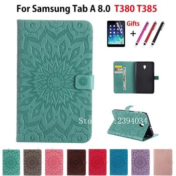 Samsung kılıfı Galaxy Tab A 8.0 SM-T380 T385 2017 8.0 inç Kapak Funda Moda Tablet Güneş Kabartmalı PU Deri Kabuk + film + Kalem