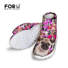 FORUDESIGNS Women's Warm Short Ankle Rain Boots Cute Pet Dog Pattern Women Winter Waterproof Snow Boots Flats Shoes Botas Mujer
