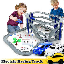 DIY Electric Train Track Car Racing Track Toy,Multi-layer Spiral Track Roller Coaster Railway Transportation Building Slot Sets