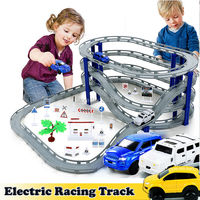 DIY Electric Train Track Car Racing Track Toy,Multi layer Spiral Track Roller Coaster Railway Transportation Building Slot Sets