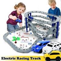 DIY Elektrische Trein Spoor Auto Racing Spoor Speelgoed, multi-layer Spiraal Track Achtbaan Railway Vervoer Building Slot Sets