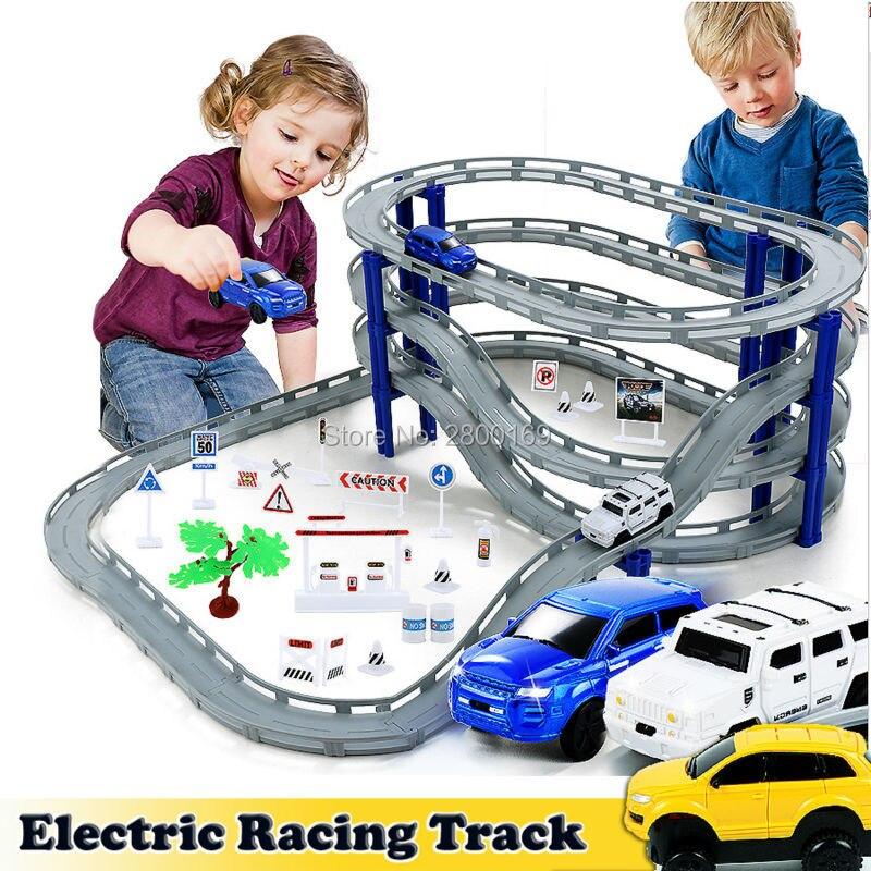 DIY Tren Eléctrico pista coche carreras pista juguete, Multi-capa espiral pista Montaña Rusa ferrocarril transporte construcción Slot Sets