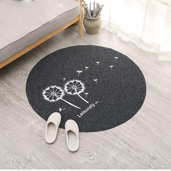 80 cm Bienvenido puerta impermeable Mat de dibujos animados bordado cocina redondas alfombras dormitorio alfombras decorativa escalera alfombras casa decoración artesanía
