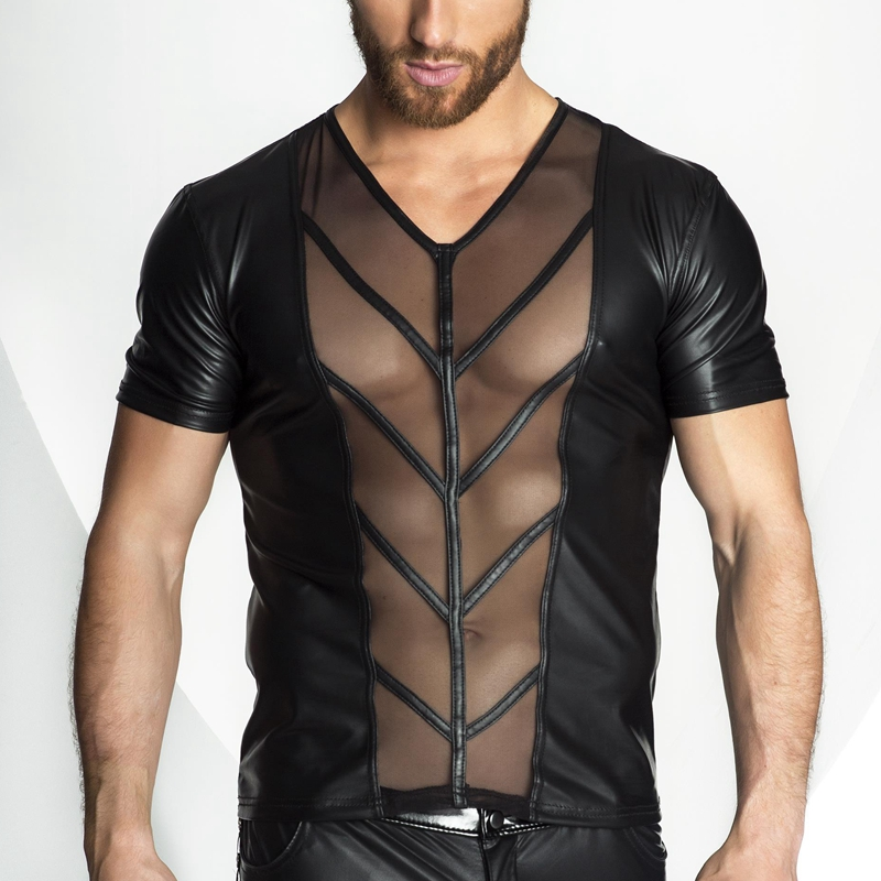 CFYH 2018 New Faux Leather Mesh T shirt Men Tops Hip Hop Summer T shirt Men Sexy Fitness Male Tees Black Plus Size S XXL in T Shirts from Men 39 s Clothing