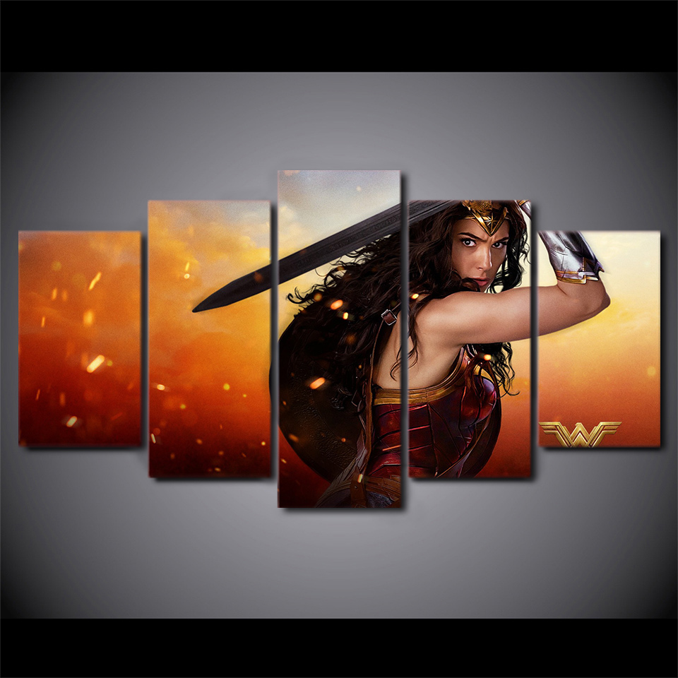 Artsailing 5 Piece Canvas Painting Wonder Woman Movie Poster Hd