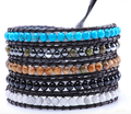 Natural turquoise stone with other mixed beads 5 strands unisex Wrap Bracelet handmade Leather chain Bracelet -Free Shipping