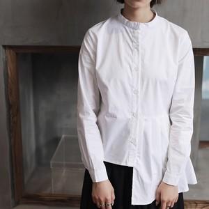 Image 3 - [Eem] yüksek kalite 2020 bahar Hem kat eklenmiş düzensiz ince rahat uzun kollu o boyun gömlek moda yeni kadın bluz LA315