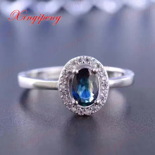 925 silver inlaid 0.6 carat natural sapphire ring luxurious and beautiful
