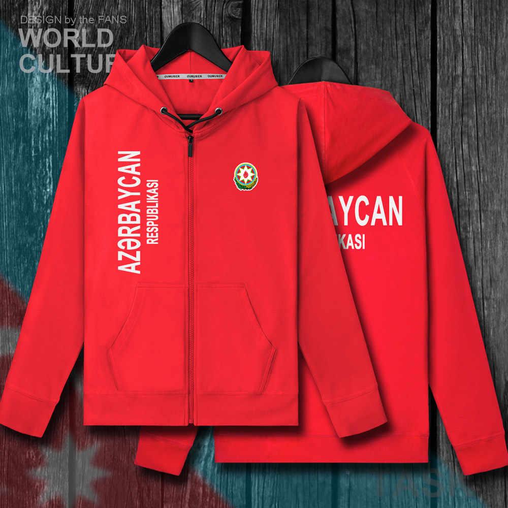 Azerbaïdjan azéri AZE hommes fermeture éclair puces hoodies hiver maillots hommes vestes et manteaux vêtements nation pays sweat