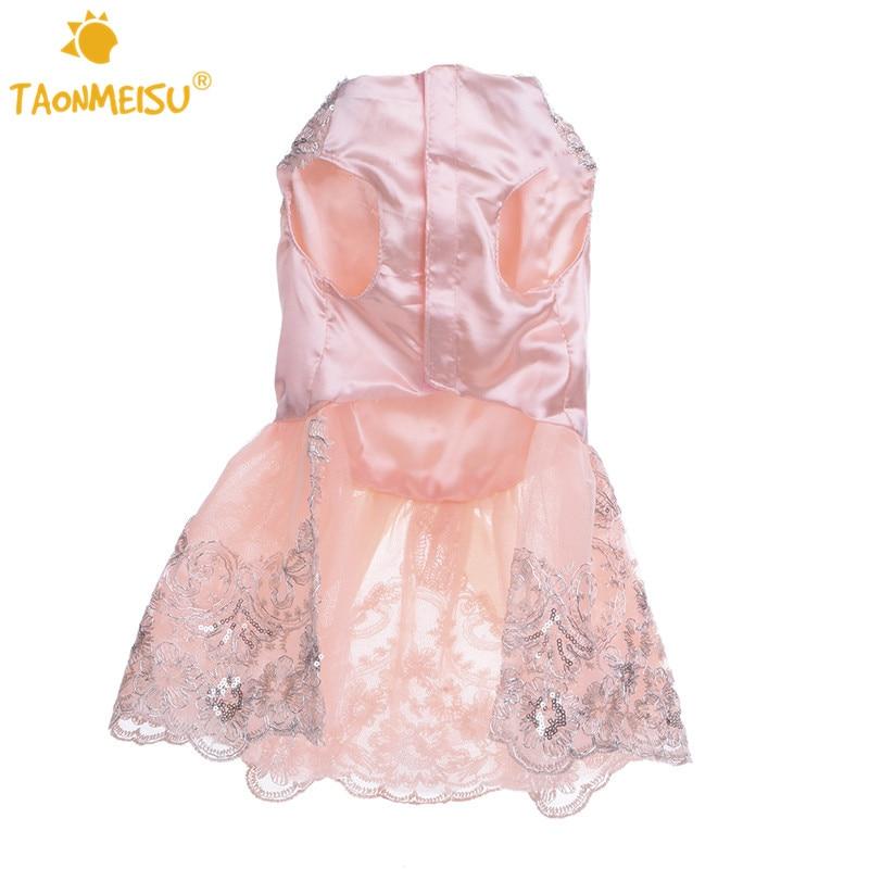 Vestido de boda del perro perrito gato 3D bordado Rosa falda para ...