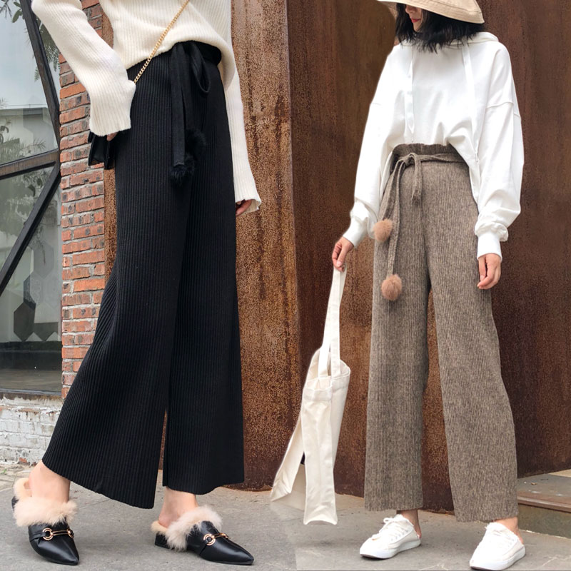 Womens Vetical Striped Wool   Wide     Leg     Pants   Rib Knitted   Pants   Elastic Waist Tassel Sashes Elegant Ankle Length Autumn Trousers