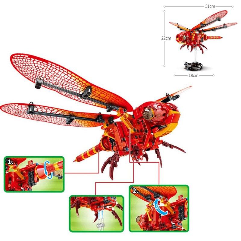 330 Pcs Simulierte Insekt BIENE DIY Rote Libelle Bausteine Kompatibel Legoingly Creator Ziegel Kinder Spielzeug für Kinder