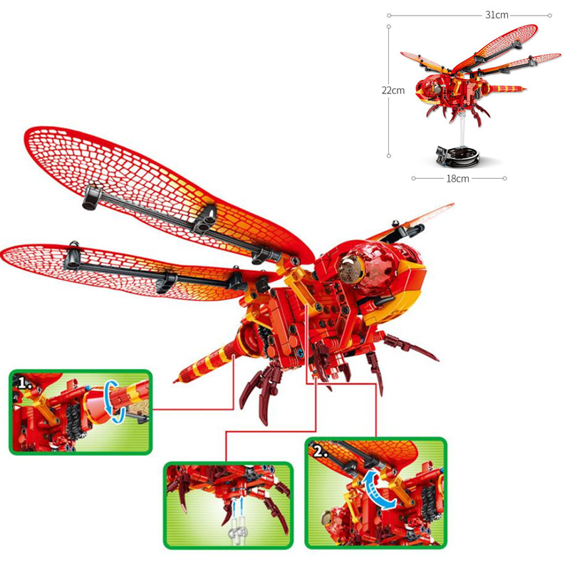 330 piezas simulado insectos abeja de la libélula roja construcción bloques Compatible Legoingly creador ladrillos niños juguetes para niños