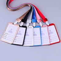 Hot Sale Aluminum Alloy Metal Vertical ID Badge Holder Bank Credit Card Bus Cards Case Cover Holders With Lanyard