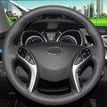 Couro preto Mão-costurado Tampa Da Roda de Direcção Do Carro para Hyundai Elantra 2011 2012 2013 2014 Avante I30
