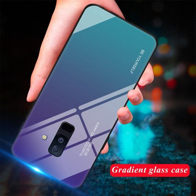 מזג זכוכית טלפון מקרה לסמסונג גלקסי S8 S9 בתוספת A5 2017 A7 A6 A8 J4 J6 בתוספת J8 2018 הערה 8 9 A30 A50Gradient צבע כיסוי