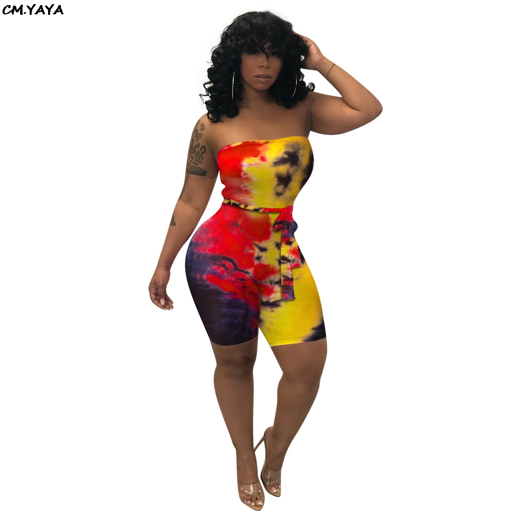 db14464b0946 2019 women strapless tie dyed print with sashes bodycon above knee jumpsuit  beach holiday playsuit sexy