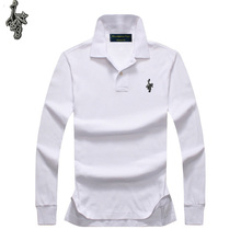 New mens autumn 100 % cotton long-sleeved embroidery polo shirt casual fashion 025