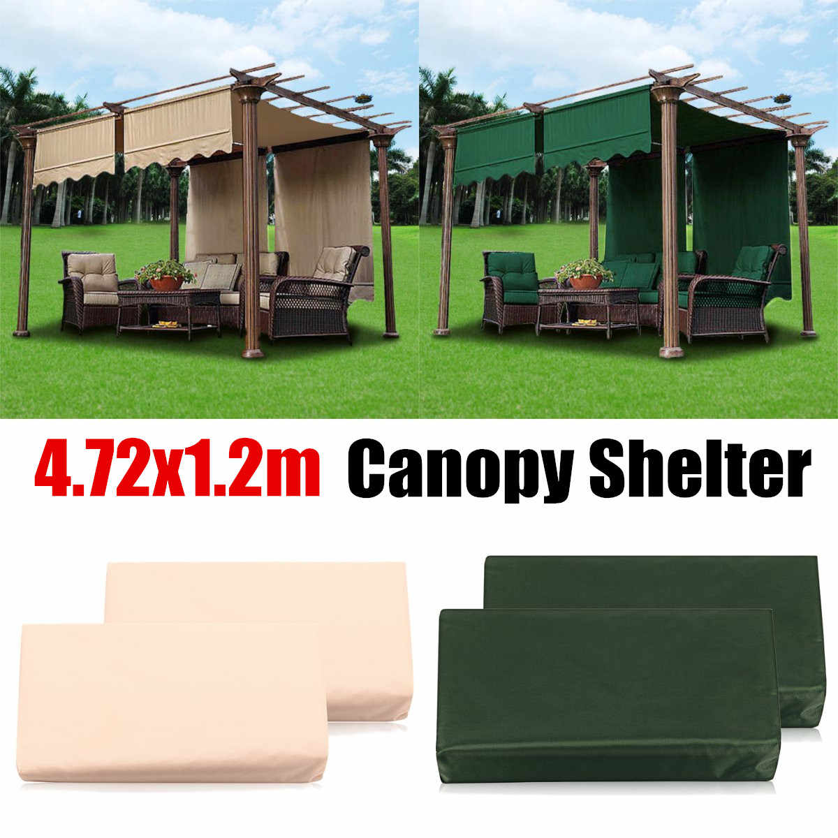 Outdoor 2Pcs/Set Sun Shade Canopy Camping Cover Garden Patio Shelter Waterproof Polyester Sun Block Cloth Green/Beige 4.72x1.2m