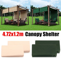 Outdoor 2Pcs/Set Sun Shade Canopy Camping Cover Garden Patio Shelter Waterproof Polyester Sun Block Cloth Green/Beige 4.72x1.2m