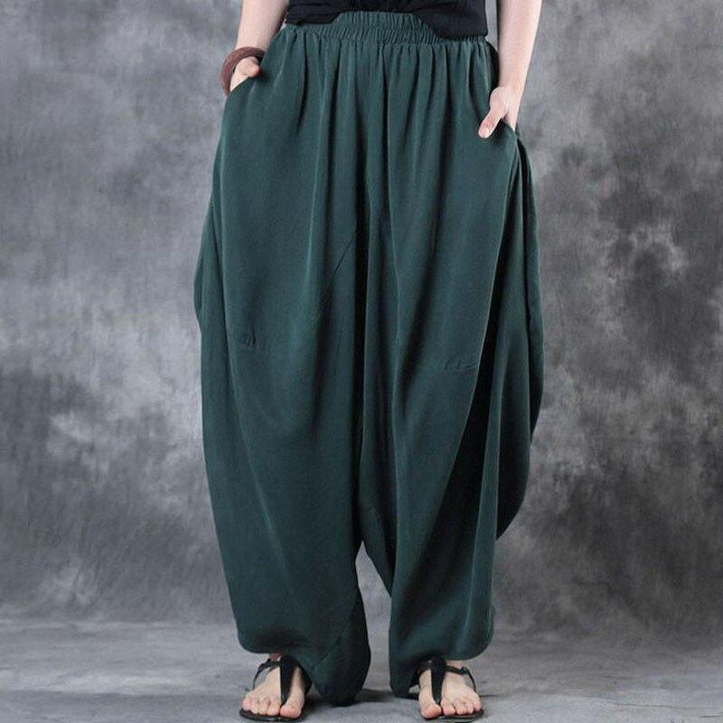 Plus Größe ZANZEA Elastische Taille Lose Breite Bein Hosen Frau Baumwolle Leinen Vintage Feste Baggy Harem Hosen Hosen Pantalon Femme