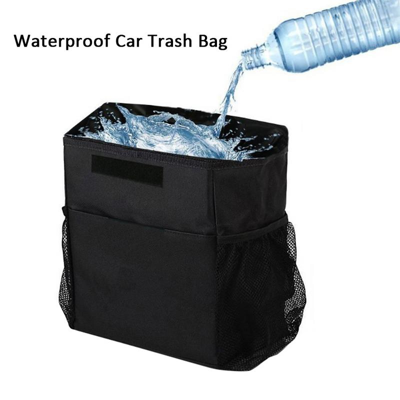 Hanging Oxford Cloth Car Trash Bag Can Premium Waterproof Litter Garbage Bag Organizer Capacity Black Dustbin Storage CanHanging Oxford Cloth Car Trash Bag Can Premium Waterproof Litter Garbage Bag Organizer Capacity Black Dustbin Storage Can