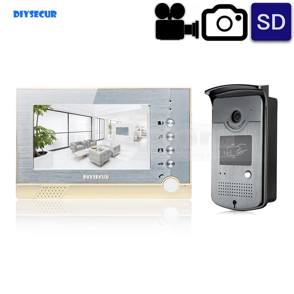 ჱDIYSECUR Video Record / Photograph 7 inch Wired Video Door Phone ...