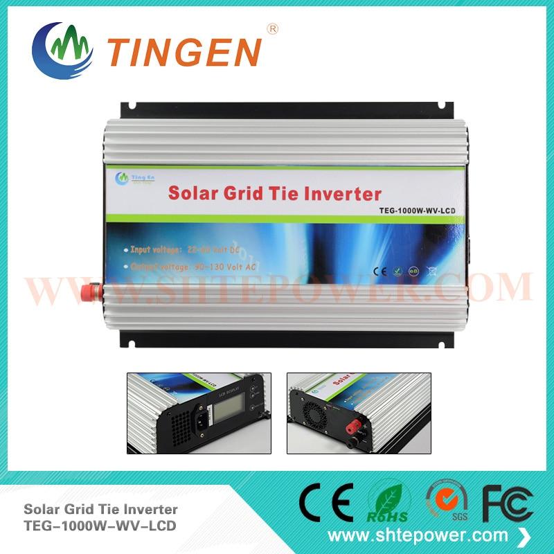 DC 22-60v to AC 90-130v/190-260v mppt on grid solar panel inverter 1kw LCD display with CE certificate grid on tie inverter 1000w 12v 24v solar panel system dc output 90 130v 190 260v with mppt function