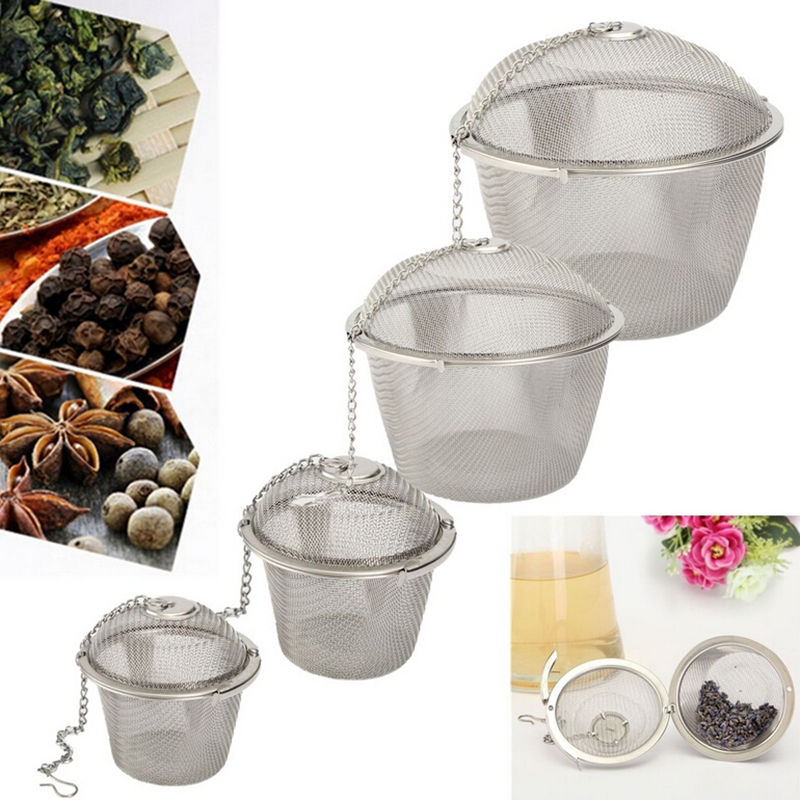 Durable 4 Sizes Silver Reusable Stainless Mesh Herbal Ball Tea Spice Strainer Teakettle Locking Tea Filter Infuser Spice