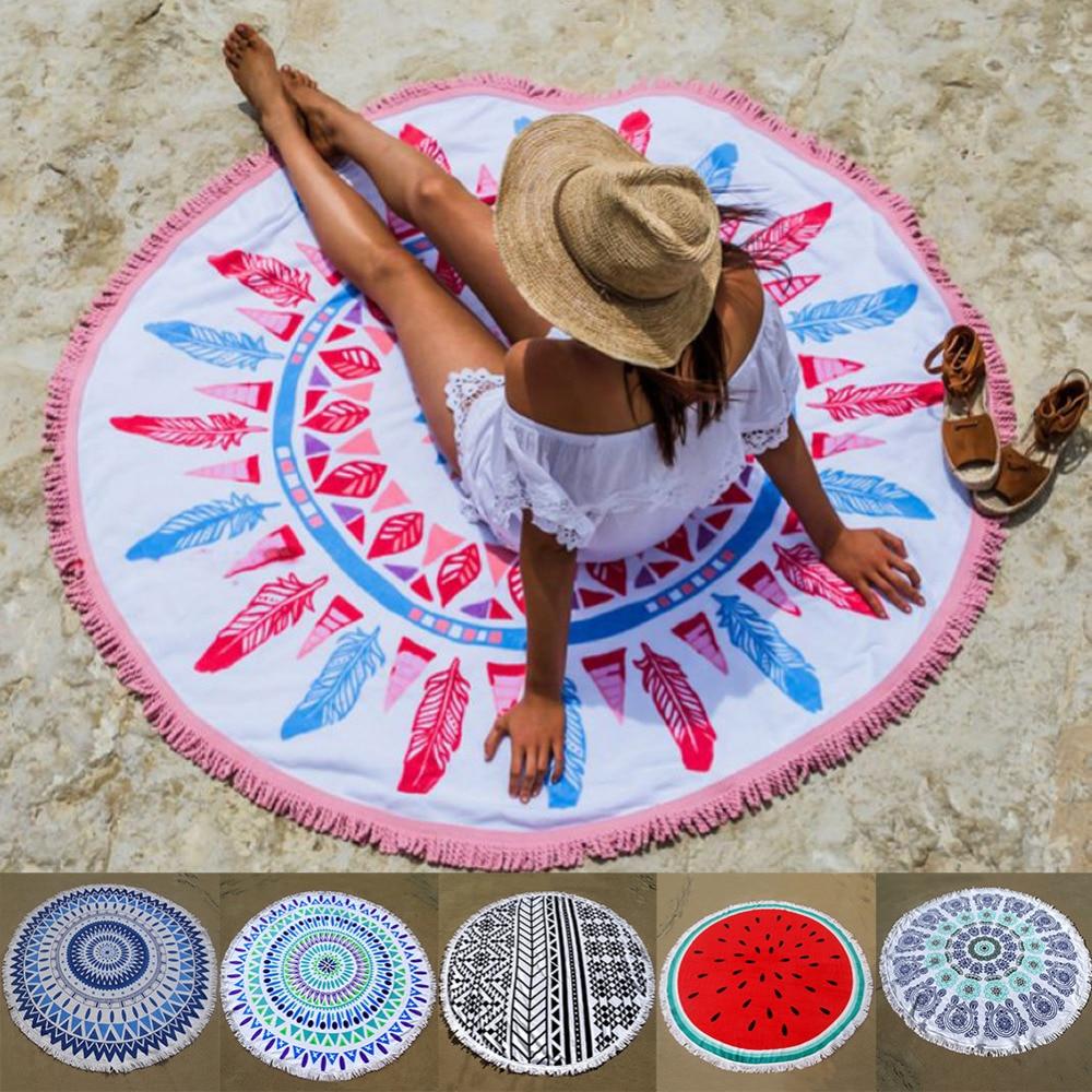 100% 400GSM Superior Conton Round Tapestry Yoga Mat Wall Hanging Beach  Throw Towel Picnic Blanket Shawl Bohemia Decor Carpet Rug