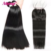 2/3/4 Bundles Deals Straight Hair Bundles With Closure Brazilian Hair Weave Bundles Straight With 4*4 Top Closure ALIPOP Remy